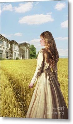 English Countryside With Mansion Metal Print by Amanda Elwell