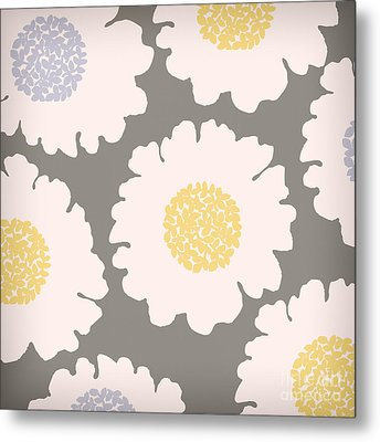 English Garden White Flower Pattern Metal Print by Mindy Sommers