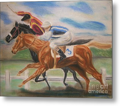 English Horse Race Metal Print by Nancy Rucker