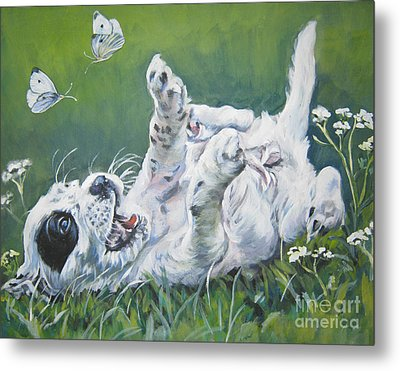 English Setter Puppy And Butterflies Metal Print