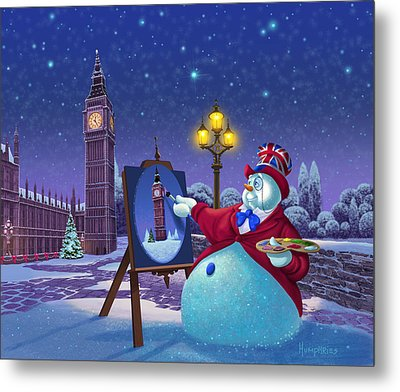 English Snowman Metal Print by Michael Humphries