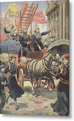 English Suffragettes Dressed As Firemen Metal Print by French School