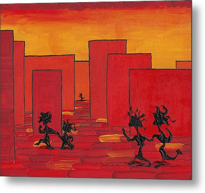 Enjoy Dancing In Red Town P1 Metal Print by Manuel Sueess