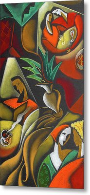 Metal Print featuring the painting Enjoying Food And Drink by Leon Zernitsky