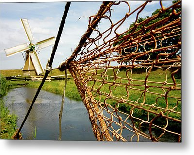 Metal Print featuring the photograph Enkhuizen Windmill And Nets by KG Thienemann