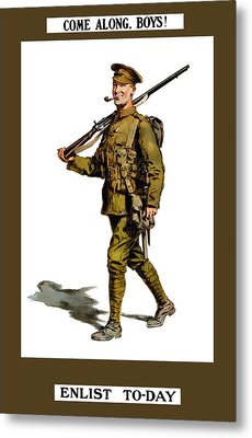 Enlist To-day - World War 1 Metal Print by War Is Hell Store