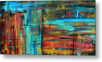 Enormous 3x5 Abstract Art Huge Original Contemporary Painting Into Autumn By Madart Metal Print by Megan Duncanson