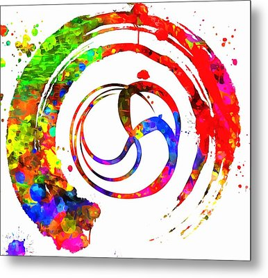 Enso Colorful Paint Circle Metal Print by Dan Sproul