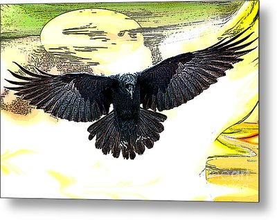 Metal Print featuring the painting Enter The Raven by Tbone Oliver