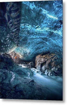 Entering The Ice Cave Metal Print