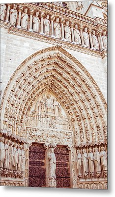 Entrance To Notre Dame Cathedral Metal Print