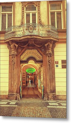Metal Print featuring the photograph Entrance To Passage. Series Golden Prague by Jenny Rainbow