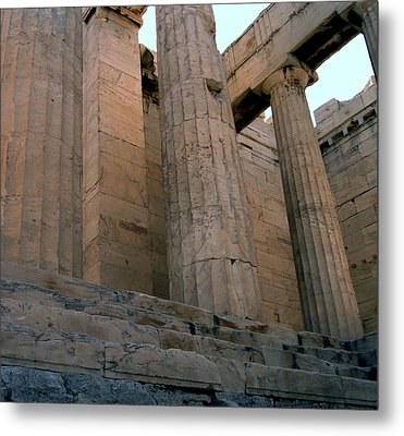 Entrance To Past Life   Acropolis Metal Print by Blima Efraim