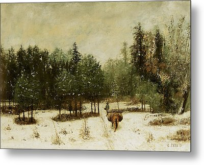 Entrance To The Forest In Winter Metal Print