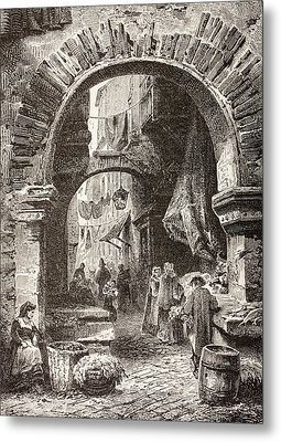 Entrance To The Ghetto In Rome In The Metal Print by Vintage Design Pics