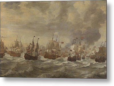 Episode From The Four Days' Naval Battle Of June 1666 Metal Print by Willem Van De Velde The Younger