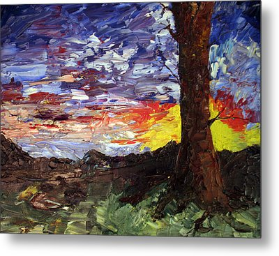 Metal Print featuring the painting Erda Sunset by Jane Autry