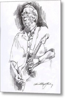 Eric Clapton Blue Metal Print by David Lloyd Glover