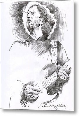 Eric Clapton Sustains Metal Print by David Lloyd Glover