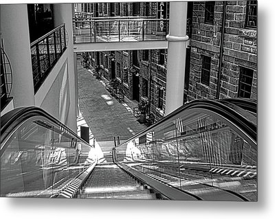 Escalator Going Down In Sydney Metal Print by Kirsten Giving