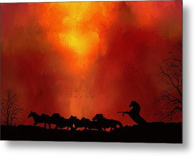 Escaping The Inferno Metal Print by Diane Schuster
