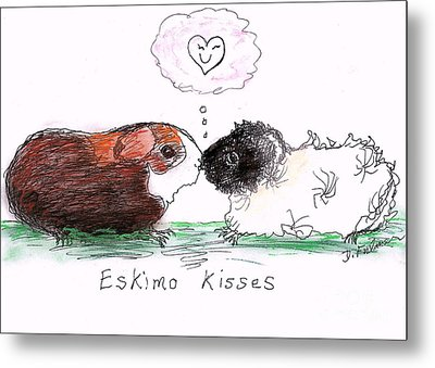 Metal Print featuring the drawing Eskimo Kisses by Denise Fulmer