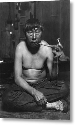 Eskimo Smoking Pipe, Photograph Metal Print