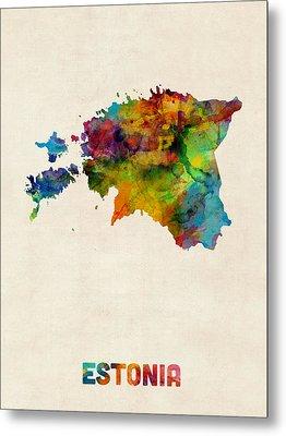 Estonia Watercolor Map Metal Print by Michael Tompsett