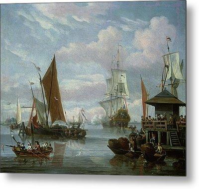 Estuary Scene With Boats And Fisherman Metal Print by Johannes de Blaauw