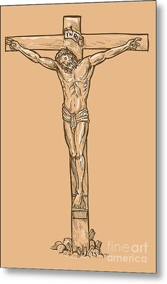 esus Christ hanging on the cross Metal Print by Aloysius Patrimonio
