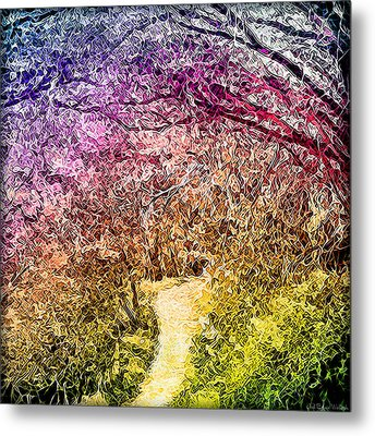 Metal Print featuring the digital art Ethereal Garden Pathway - Trail In Santa Monica Mountains by Joel Bruce Wallach