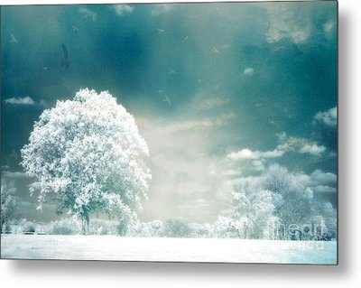 Ethereal Surreal Dreamy Nature Trees Landscape - Aqua Teal Mint Infrared Nature  Metal Print by Kathy Fornal