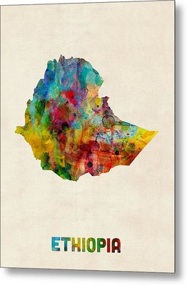 Metal Print featuring the digital art Ethiopia Watercolor Map by Michael Tompsett