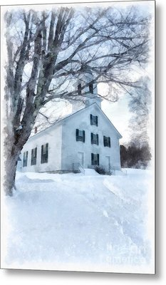 Metal Print featuring the painting Etna Center Church by Edward Fielding