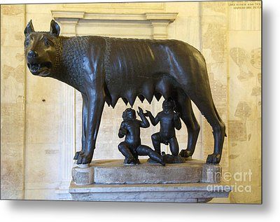 Etruscan Bronze Statue Of The She-wolf With Romulus And Remus. Capitoline Museum. Capitoline Hill. R Metal Print by Bernard Jaubert