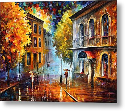 Etude In Red Metal Print by Leonid Afremov