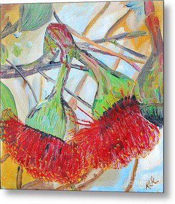 Eucalyptus Flowers Metal Print by Reina Resto