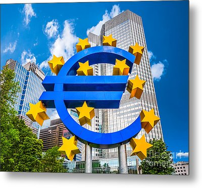 Euro Sign At European Central Bank In Frankfurt, Germany Metal Print