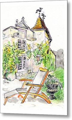 Metal Print featuring the painting European Chateau Lounge Chair by Tilly Strauss