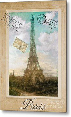 European Vacation Postcard Paris Metal Print by Mindy Sommers