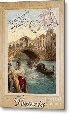 European Vacation Postcard Venice Metal Print