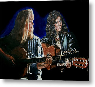 Metal Print featuring the painting Eva Cassidy And Katie Melua by Bryan Bustard