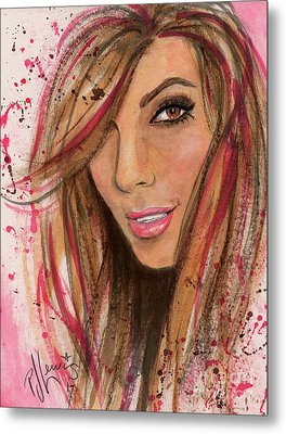 Metal Print featuring the painting Eva Longoria by P J Lewis