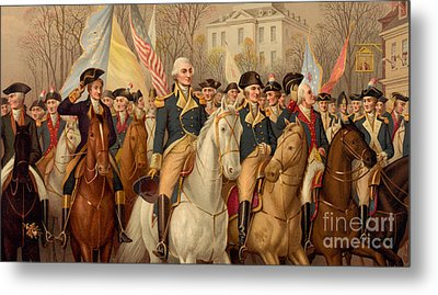 Evacuation Day And Washington's Triumphal Entry In New York City Metal Print by American School