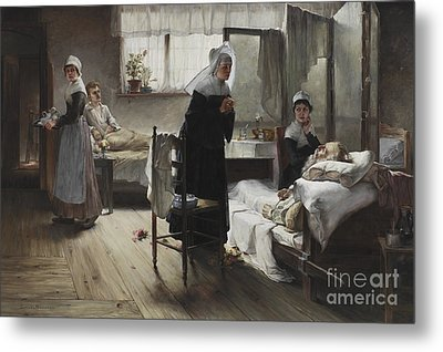 Evangeline Discovering Her Affianced In The Hospital Metal Print