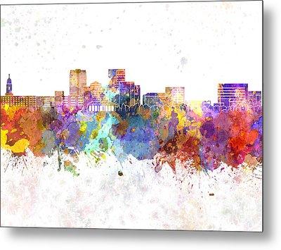 Evansville Skyline In Watercolor Background Metal Print