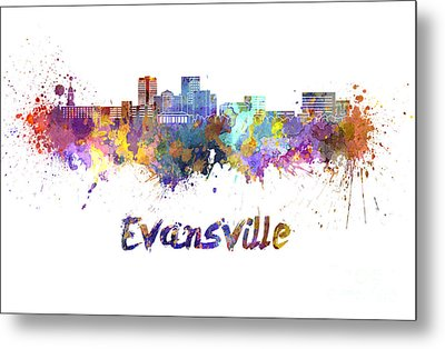 Evansville Skyline In Watercolor  Metal Print by Pablo Romero