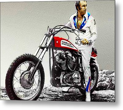 Evel Knievel Painting Full Color Large Metal Print