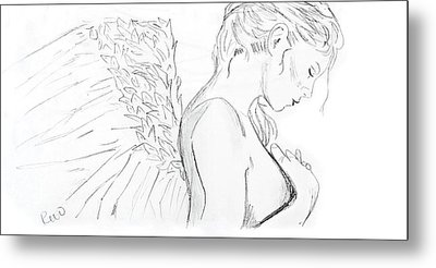Even Angels Cry Without Quote Metal Print by Rebecca Wood