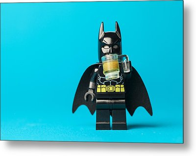 Even Batman Needs A Beer Metal Print by Samuel Whitton